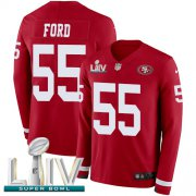 Wholesale Cheap Nike 49ers #55 Dee Ford Red Super Bowl LIV 2020 Team Color Men's Stitched NFL Limited Therma Long Sleeve Jersey