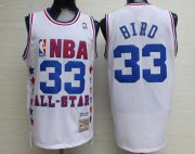 Wholesale Cheap NBA 1990 All-Star #33 Larry Bird White Hardwood Classics Soul Swingman Throwback Jersey