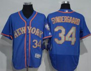 Wholesale Mets #34 Noah Syndergaard Blue(Grey NO.) Flexbase Authentic Collection Stitched Baseball Jersey