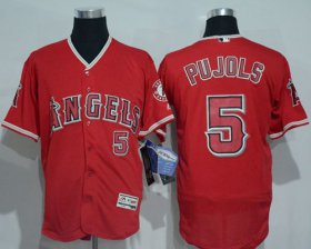 Wholesale Cheap Angels of Anaheim #5 Albert Pujols Red Flexbase Authentic Collection Stitched MLB Jersey