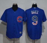 Wholesale Cheap Cubs #9 Javier Baez Blue USA Flag Fashion Stitched MLB Jersey