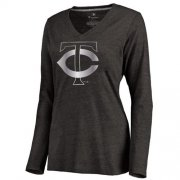 Wholesale Cheap Women's Minnesota Twins Platinum Collection Long Sleeve V-Neck Tri-Blend T-Shirt Black