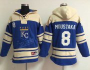 Wholesale Cheap Royals #8 Mike Moustakas Light Blue Sawyer Hooded Sweatshirt MLB Hoodie
