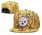 Wholesale Cheap Steelers Team Logo Yellow Adjustable Hat TX
