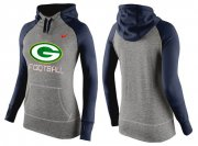 Wholesale Cheap Women's Nike Green Bay Packers Performance Hoodie Grey & Dark Blue