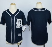 Wholesale Cheap Tigers Blank Navy Blue Cool Base Stitched Youth MLB Jersey