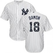Wholesale Cheap Yankees #18 Johnny Damon White Strip Team Logo Fashion Stitched MLB Jersey