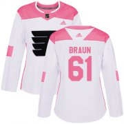 Wholesale Cheap Adidas Flyers #61 Justin Braun White/Pink Authentic Fashion Women's Stitched NHL Jersey