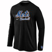 Wholesale Cheap New York Mets Long Sleeve MLB T-Shirt Black