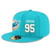 Wholesale Cheap Miami Dolphins #95 Dion Jordan Snapback Cap NFL Player Aqua Green with White Number Stitched Hat