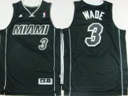 Wholesale Cheap Miami Heat #3 Dwyane Wade Revolution 30 Swingman All Black With White Jersey