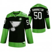 Wholesale Cheap St. Louis Blues #50 Jordan Binnington Men's Adidas Green Hockey Fight nCoV Limited NHL Jersey