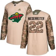 Wholesale Cheap Adidas Wild #22 Nino Niederreiter Camo Authentic 2017 Veterans Day Stitched Youth NHL Jersey