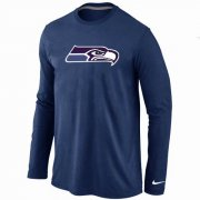 Wholesale Cheap Nike Seattle Seahawks Logo Long Sleeve T-Shirt Dark Blue