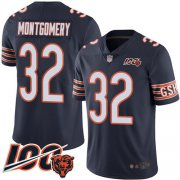 Wholesale Cheap Nike Bears #32 David Montgomery Navy Blue Team Color Men's Stitched NFL 100th Season Vapor Limited Jersey