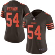 Wholesale Cheap Nike Browns #54 Olivier Vernon Brown Women's Stitched NFL Limited Rush Jersey