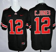 Wholesale Cheap Ohio State Buckeyes #12 Cardale Jones Black With Red College Football Nike Limited Jersey