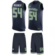Wholesale Cheap Nike Seahawks #54 Bobby Wagner Steel Blue Team Color Men's Stitched NFL Limited Tank Top Suit Jersey
