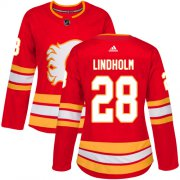 Wholesale Cheap Adidas Flames #28 Elias Lindholm Red Alternate Authentic Women's Stitched NHL Jersey