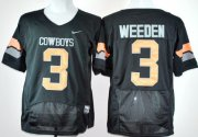 Wholesale Cheap Oklahoma State Cowboys #3 Brandon Weeden Black Pro Combat Jersey