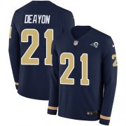 Wholesale Cheap Nike Rams #21 Donte Deayon Navy Blue Team Color Men's Stitched NFL Limited Therma Long Sleeve Jersey