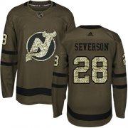 Wholesale Cheap Adidas Devils #28 Damon Severson Green Salute to Service Stitched NHL Jersey