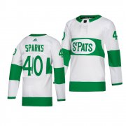 Wholesale Cheap Maple Leafs #40 Garret Sparks adidas White 2019 St. Patrick's Day Authentic Player Stitched NHL Jersey