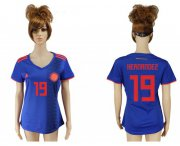 Wholesale Cheap Women's Colombia #19 Hernandez Away Soccer Country Jersey