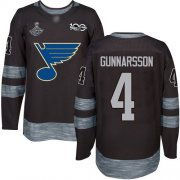 Wholesale Cheap Adidas Blues #4 Carl Gunnarsson Black 1917-2017 100th Anniversary Stanley Cup Champions Stitched NHL Jersey