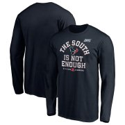 Wholesale Cheap Houston Texans NFL 2019 AFC South Division Champions Cover Two Long Sleeve T-Shirt Navy
