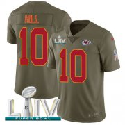 Wholesale Cheap Nike Chiefs #10 Tyreek Hill Olive Super Bowl LIV 2020 Youth Stitched NFL Limited 2017 Salute To Service Jersey