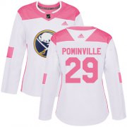 Wholesale Cheap Adidas Sabres #29 Jason Pominville White/Pink Authentic Fashion Women's Stitched NHL Jersey