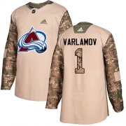 Wholesale Cheap Adidas Avalanche #1 Semyon Varlamov Camo Authentic 2017 Veterans Day Stitched Youth NHL Jersey