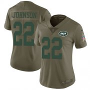 Wholesale Cheap Nike Jets #22 Trumaine Johnson Olive Women's Stitched NFL Limited 2017 Salute to Service Jersey