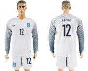 Wholesale Cheap Greece #12 Kapino White Goalkeeper Long Sleeves Soccer Country Jersey