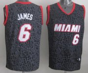 Wholesale Cheap Miami Heat #6 LeBron James Black Leopard Print Fashion Jersey