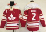 Wholesale Cheap Team CA. #2 Duncan Keith Red Sawyer Hooded Sweatshirt 2016 World Cup Stitched NHL Jersey