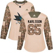Wholesale Cheap Adidas Sharks #65 Erik Karlsson Camo Authentic 2017 Veterans Day Women's Stitched NHL Jersey