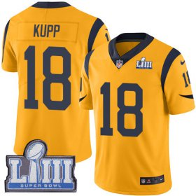 Wholesale Cheap Nike Rams #18 Cooper Kupp Gold Super Bowl LIII Bound Youth Stitched NFL Limited Rush Jersey
