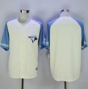 Wholesale Cheap Blue Jays Blank Cream/Blue Exclusive New Cool Base Stitched MLB Jersey