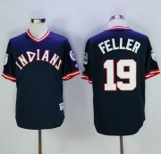 Wholesale Cheap Indians #19 Bob Feller Navy Blue 1976 Turn Back The Clock Stitched MLB Jersey