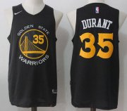 Wholesale Cheap Men's Golden State Warriors #35 Kevin Durant Black with Yellow 2017-2018 Nike Swingman Stitched NBA Jersey