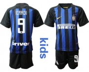 Wholesale Cheap Inter Milan #9 Icardi Home Kid Soccer Club Jersey