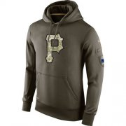 Wholesale Cheap Men's Pittsburgh Pirates Nike Olive Salute To Service KO Performance Hoodie