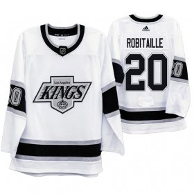 Wholesale Cheap Los Angeles Kings #20 Luc Robitaille Men\'s Adidas 2019-20 Heritage White Throwback 90s NHL Jersey