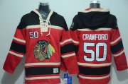 Wholesale Cheap Blackhawks #50 Corey Crawford Red Sawyer Hooded Sweatshirt Stitched NHL Jersey