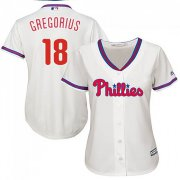 Wholesale Cheap Phillies #18 Didi Gregorius Cream Alternate Women's Stitched MLB Jersey