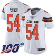 Wholesale Cheap Nike Browns #54 Olivier Vernon White Women's Stitched NFL 100th Season Vapor Limited Jersey