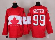 Wholesale Cheap Olympic 2014 CA. #99 Wayne Gretzky Red Stitched NHL Jersey