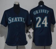 Wholesale Cheap Mariners #24 Ken Griffey Navy Blue Alternate Women's Stitched MLB Jersey